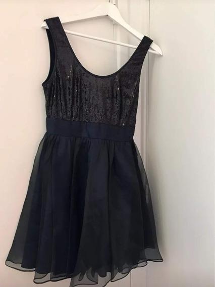 Vestid Azul Negr Perl Talle M T2 T38 Importad Noch Gala Fies