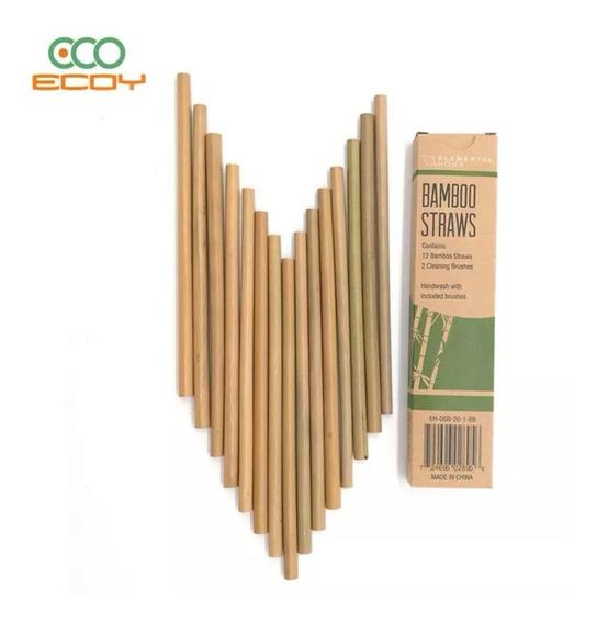 12 Popotes De Bambu Más Cepillo Ecológico Reutilizable