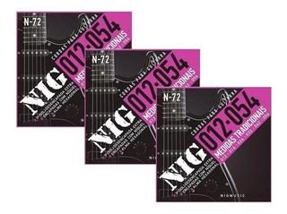 Kit 3 Encordoamentos Guitarra Aço 012 054 Nig N72 Tradiciona