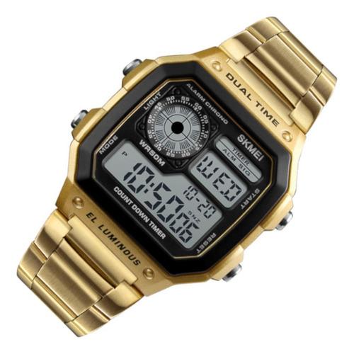 Relógio Masculino Skmei 1335 Dig Resis Água Dourado Casual