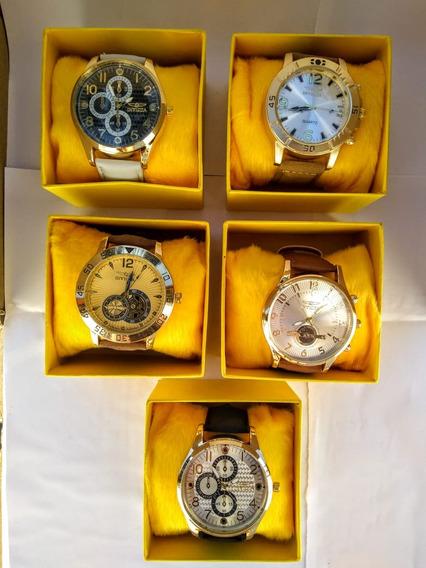 Kit 5 Relógios Masculino Couro Luxo+caixa Atacado Promoção