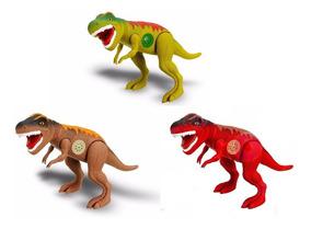 Kit 2 Dinossauro Tirano Rex 43cm Emite Som Brinquedo Menino