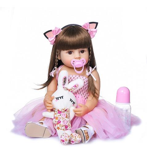 Imagem 1 de 8 de Boneca Bebê Reborn Menina Silicone 48cm Olhos Castanho Ig520