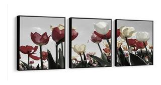 Quadro Decorativo Tulipas Grande Jardim Flores Com Moldura