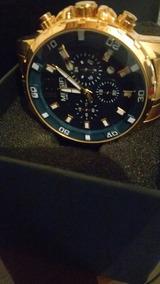 Relógio De Pulso Masculino Original Megir Dourado F. Azul