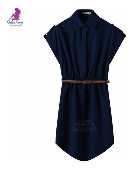 Vestido Fiesta Oficina Importado Estilo Camisa Qilaixing