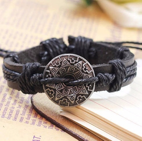 Pulseira Bracelete Unisex Couro (estilo Amuleto)