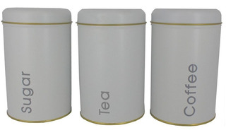 Kit 3 Potes Porta Mantimentos Açúcar Chá Café -lata Branca