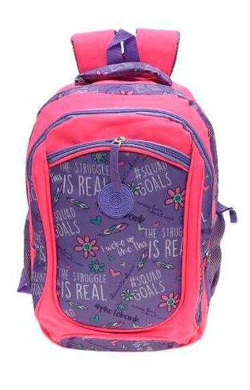 Mochila Escolar Nena Grande Reforzada Estampada Trendy 8018