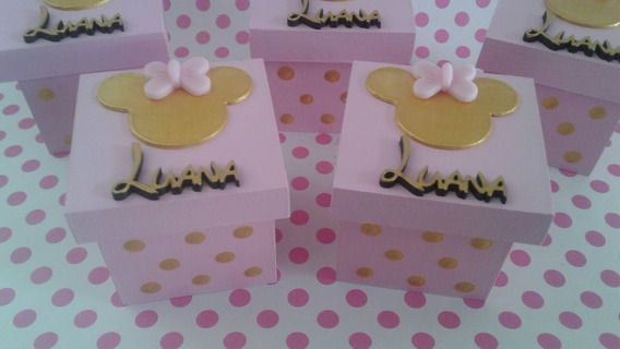 Souvenirs Cajitas Minnie Gold Dorado O Plateado