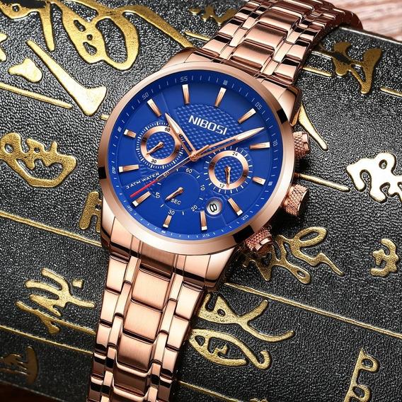 Relógio Nibosi Masculino Dourado Mostrador Azul Frete Grátis