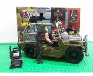 Boneco Militar Tipo Comandos Ação Sos Gi Joe Com Jeep Jipe *