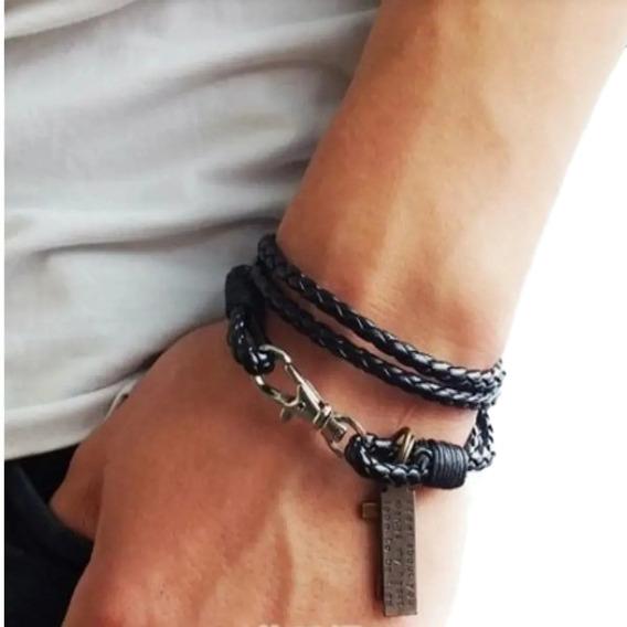 Pulseira Masculina De Couro Modelo Estilo Swag Bracelete