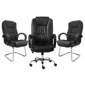 Kit 1 Cadeira Giratória + 2 Cadeiras Interlocutor Base Fixa