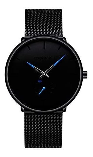 Crrju Reloj Metálico Hombre Elegante, Minimalista (n/azul)