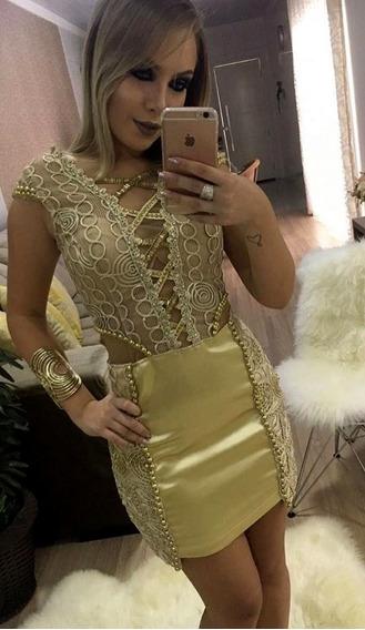 Vestido Dourado Bordado Vanessa Lima Tam 38