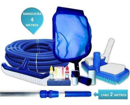 Kit De Limpeza Completo Para Piscinas Com Cabo De 2 Mts Mangueira 4 Mts E Estojo Teste Para Medir Ph/cloro Da Água