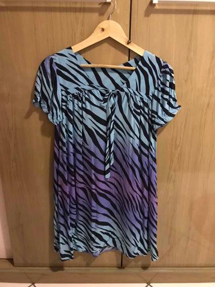 Vestido Soltinho Estampa Zebra Azul Degradê Tamanho M