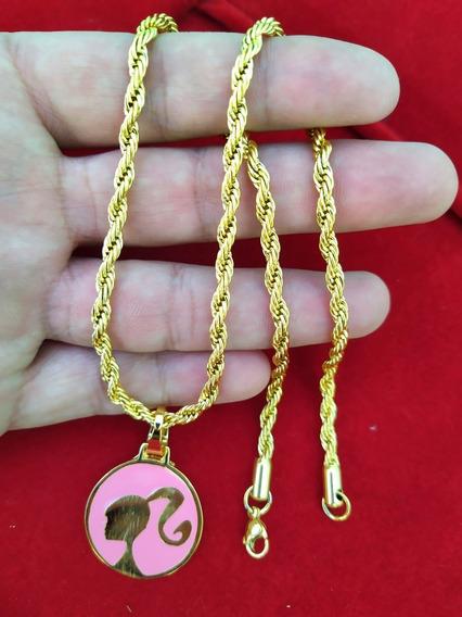 Colar Trançado Baiano Feminino + Pingente Barbie Dourado Com Rosa Folheado À Ouro 18k