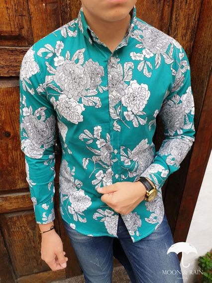 Camisa Slim Fit Verde Flores Blancas Moon & Rain Tiendas Pla