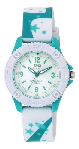 Relógio Masculino Infantil Verde Água E Branco Q&q Original