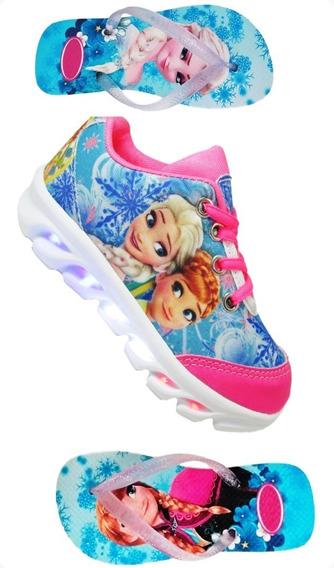 Kit Tenis Infantil Luz De Led Frozen Princesa Disnei Chinelo