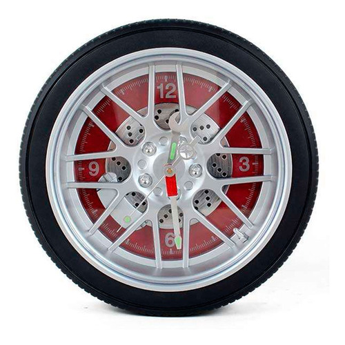 Imagem 1 de 1 de Relógio De Parede Fogatti  Roda/pneu   Vermelho