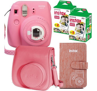Combo Instax Mini 9 Rosa 40 Fotos Album 108 Foto Cartera