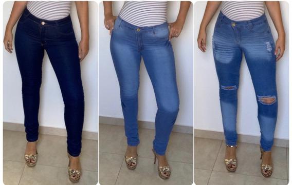 Kit 10 Calça Jeans Feminina Cintura Alta Lycra Estilo Pitbul
