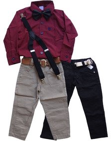2 Calças Jeans Infantil Masculina + 1 Camisa + 1 Suspensório