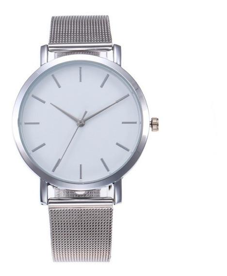 Relógio Feminino Pulso Geneve Prata Pulseira Malha R33