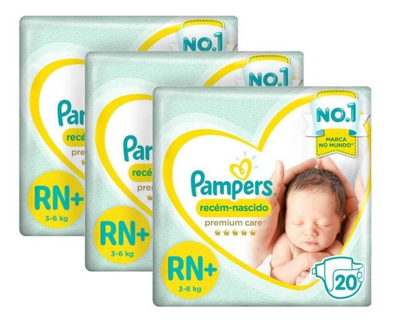 Kit Fralda Pampers Premium Care Recém Nascido Plus C/ 60 Und