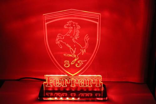 Imagem 1 de 7 de Luminária Led 3d - Escuderia Ferrari - Decoração Presentes