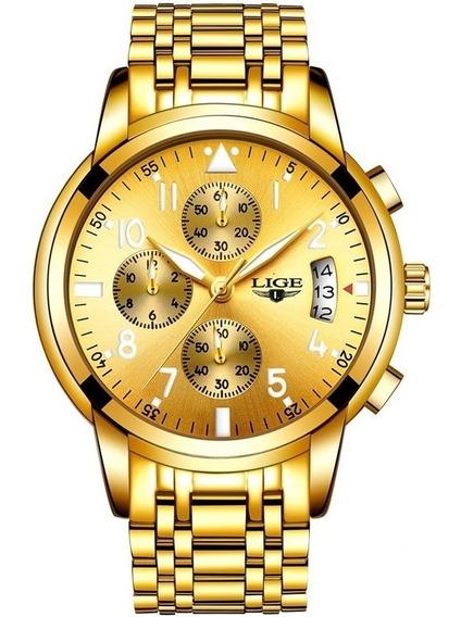 Relógio Luxo Lige Original Dourado A Prova D Água Fretgrátis