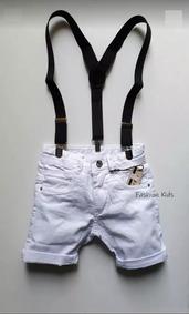 Bermuda Short Bebê Jeans Branco Menino 1 À 24 Meses