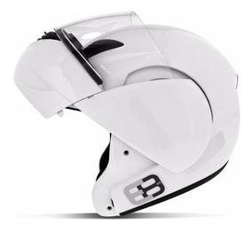 Capacete Escamoteável Ebf E8 Articulado Tipo Robocop Branco