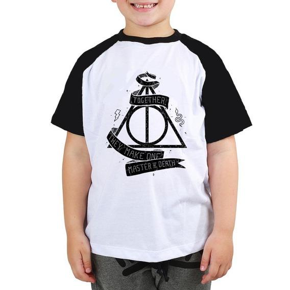 Camiseta Harry Potter Together Black Filme Raglan Infantil