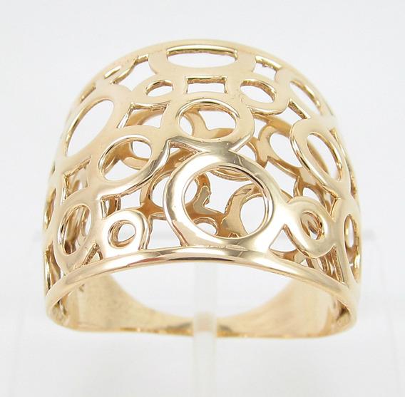 Esfinge Jóias - Anel Grande Design Vazado Aro21,5 Ouro 18k.