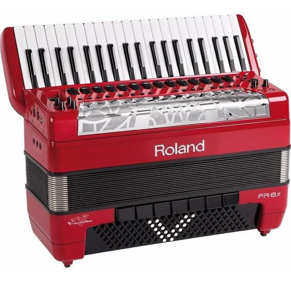 Sanfona Acordeon Roland Fr8x Elétrico Fr-8x Vermelho Com Bag