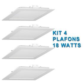 Kit 4 Painel Plafon Luminaria Led Quadrado Embutir Slim 18w