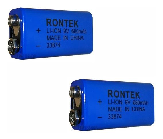 2 Baterias Recarregaveis Rontek 9v De Litio 680mah Potente