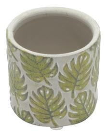 Vaso Cerâmica Embossed Green Leaves Cinza/verde P