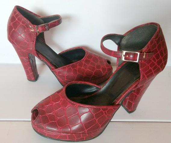 Zapatos Con Taco De Cuero Nº 37