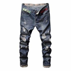 Calça Jeans Masculina Rasgada Com Detalhes Lançamentos 8832