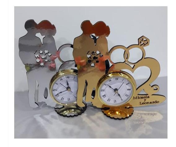 25 Souvenirs Bodas Novios Reloj Dorado O Plateado Espejado