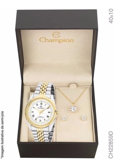 Kit Relógio Champion Dourado Feminino Com Colar Ch22859d