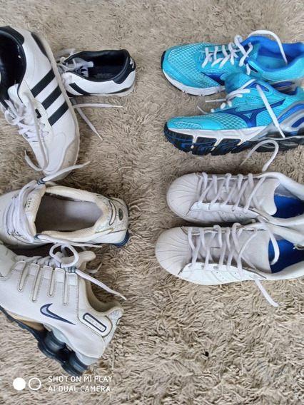 4 Pares De Tênis 35 Mizuno Nike adidas