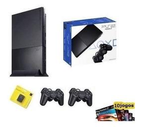 Playstation 2 Slim Play 2 Ps2 + 2 Manetes + M.card 16 + 10jg