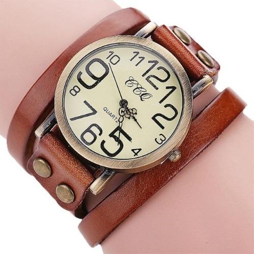 Relógio Pulseira De Couro Vintage Unissex