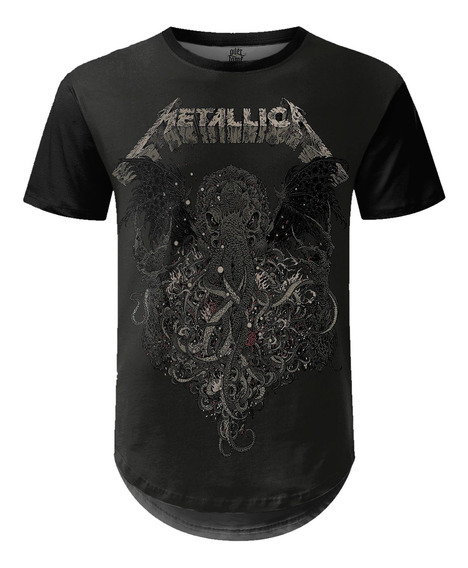 Camiseta Masculina Longline Metallica Estampa Digital Md02
